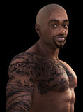 Black African American Tatoo Illustration Royalty Free Stock Photos