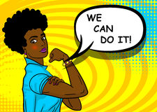 Black african-american woman WE CAN DO IT. Black african-american beautiful pop art woman. Advertise WE CAN DO IT girl power. Vector illustration halftone Stock Images