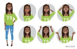 Set of emotions and gestures to the young black african american woman. Stock Photos