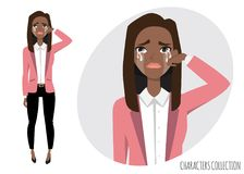 Black african american Woman Crying vector. Black african american Woman Crying. Exhausted Woman. Woman in depression. Vector illustration Royalty Free Stock Photography