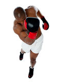 A black african athletic boxer with boxing gloves Stock Image