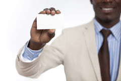 Black African business man holding blank card Stock Image