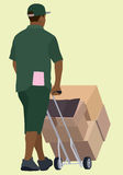 Black or African Delivery Man. Pushing Hand truck Viewed from Behind Royalty Free Stock Image