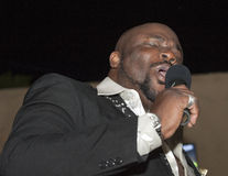 Black african male singing live Stock Images