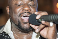 Black african male singing live Royalty Free Stock Photography