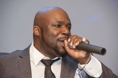 Black African male singing live Stock Image