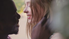 Black African man and white girl. Inter-ethnic love stock footage