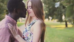 Black African man and white girl. Inter-ethnic love stock video