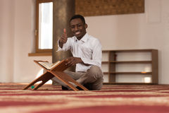 Black African Muslim Man Showing Thumbs Up Stock Images