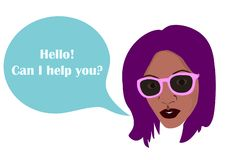 Black african woman`s silhouette and comics balloon with text Hello, can I help you? template for any text royalty free stock image