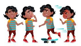 Black, Afro American Boy Kindergarten Kid Poses Set Vector. Kiddy, Child Expression. Junior. For Postcard, Cover vector illustration