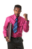 Black Afro american businessman with tie computer. Black African businessman with tie and afro American computer isolated metisse Royalty Free Stock Photos