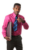 Black Afro american businessman with tie computer Stock Photography