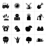 Black Agriculture and farming icons. Vector icon set Royalty Free Stock Photo