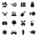 Black Agriculture and farming icons. Vector icon set vector illustration