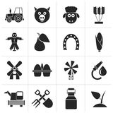Black Agriculture and farming icons. Vector icon set Stock Photography