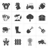 Black Agriculture and farming icons. Vector icon set Stock Photo