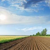 Agriculture field and sun in blue sky with clouds. Black agriculture field and sun in blue sky with clouds Stock Images