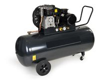 Black air compressor isolated Royalty Free Stock Photography