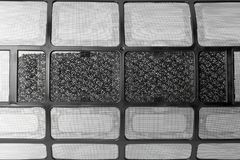 Black air condition filter. Close-up stock photography