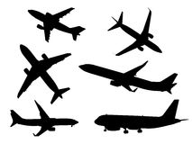 Black airplanes icon set Stock Photography