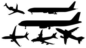 Black airplanes vectors Royalty Free Stock Images
