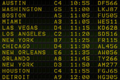 Black airport departures board for america Stock Photo