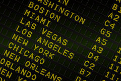 Black airport departures board for america Stock Photos
