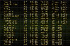 Black airport departures board. Digitally generated black airport departures board Stock Photos
