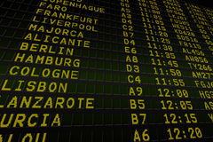 Black airport departures board Royalty Free Stock Photography