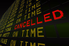 Black airport departures board Royalty Free Stock Photos