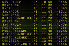 Black airport departures board for south america Stock Image