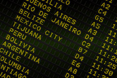 Black airport departures board for south america Stock Photography