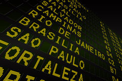 Black airport departures board for south america Royalty Free Stock Photos