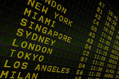 Black airport departures board with yellow text Stock Photo