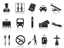Black airport icons set Stock Photos