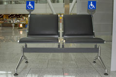 Black Airport Seats Stock Images