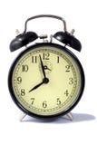 Black Alarm Clock. Vintage Style Old Black Clockwork Alarm Clock With Bells Stock Photography