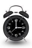 Black alarm clock with hands at 3 am or pm  on white bac Royalty Free Stock Image