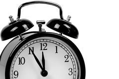 Black alarm clock - It is high time! royalty free stock photography