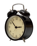 Black alarm clock isolated Stock Images