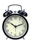 Black alarm clock isolated on white background Royalty Free Stock Photos
