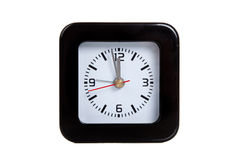 A black alarm clock on white Royalty Free Stock Image