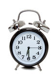 Black alarm clock on white Royalty Free Stock Photography