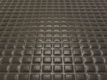 Black Alligator skin with stitched rectangles. Useful as texture or background Stock Photos