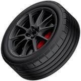 Black alloy wheel Royalty Free Stock Photos