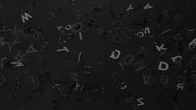 Black Alphabets On Black Background stock footage