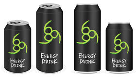 Black aluminium energy drink cans vector Royalty Free Stock Images