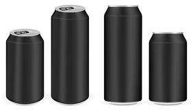 Black aluminium soft drink cans vector Stock Images