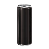 Black aluminum can on white background. Royalty Free Stock Images